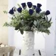 Ramo de Rosas Preservadas Azul Intenso