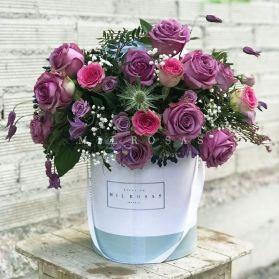 Sombrerera Rosas Malvas y Lilas